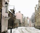 Season's Greetings! A snowy Merton Street in Oxford, Home to Merton College and Corpus Christi College