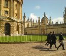 Order No: 068 Students walking across Radcliffe Square, Oxford with the Radcliffe Camera on the left and Brasenose College ahead.