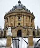 A snowman greets visitors to The Radcliffe Camera, Oxford