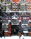 092 XO Season's Greetings! Heavy snow falls on the Tavern in St Aldates, Oxford