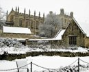 A thick blanket of snow covers Christ Church Great Hall and Memorial Garden, Oxford