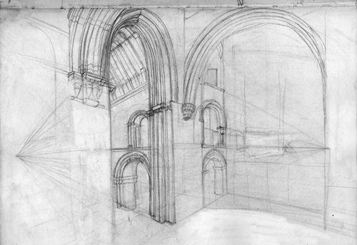 St Bartholomew Church,  sketchbook study