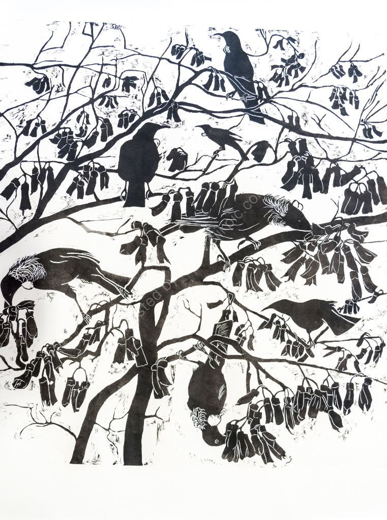 275 blossoms, relief print