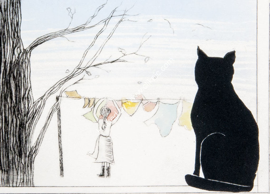 Cat in the window. Mixed media.