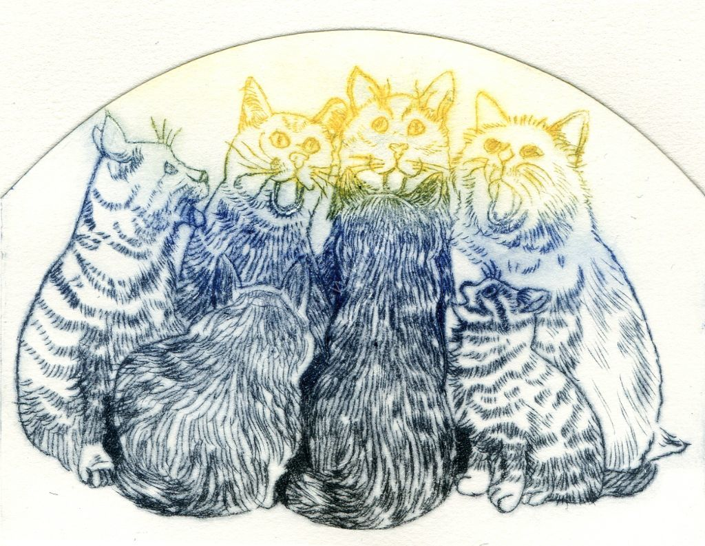 Cats. Drypoint print