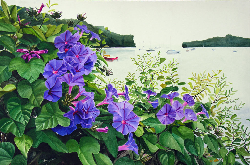 Kerikeri Inlet with Morning Glory. Painting on canvas.