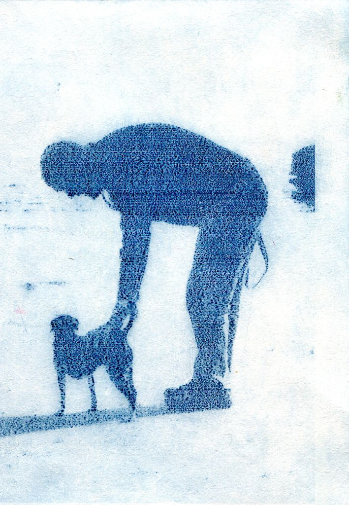 Dog and man. Solar plate