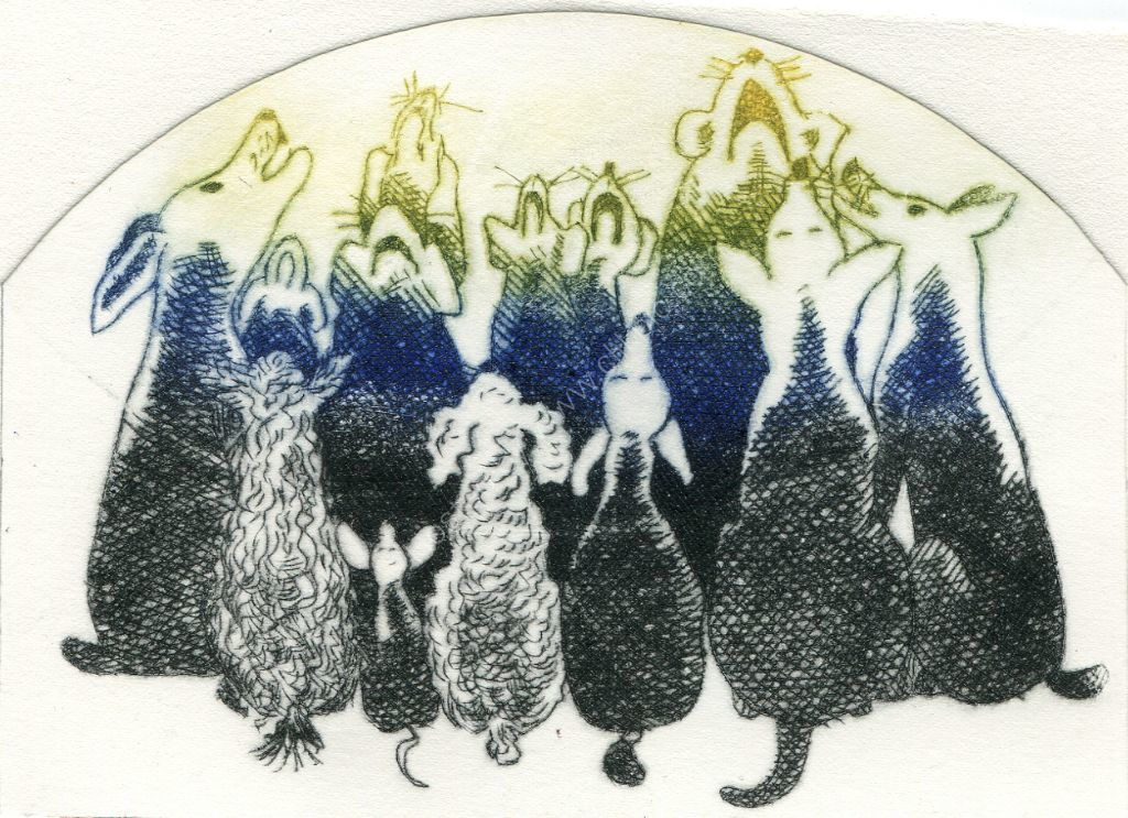 Dogs. Drypoint print