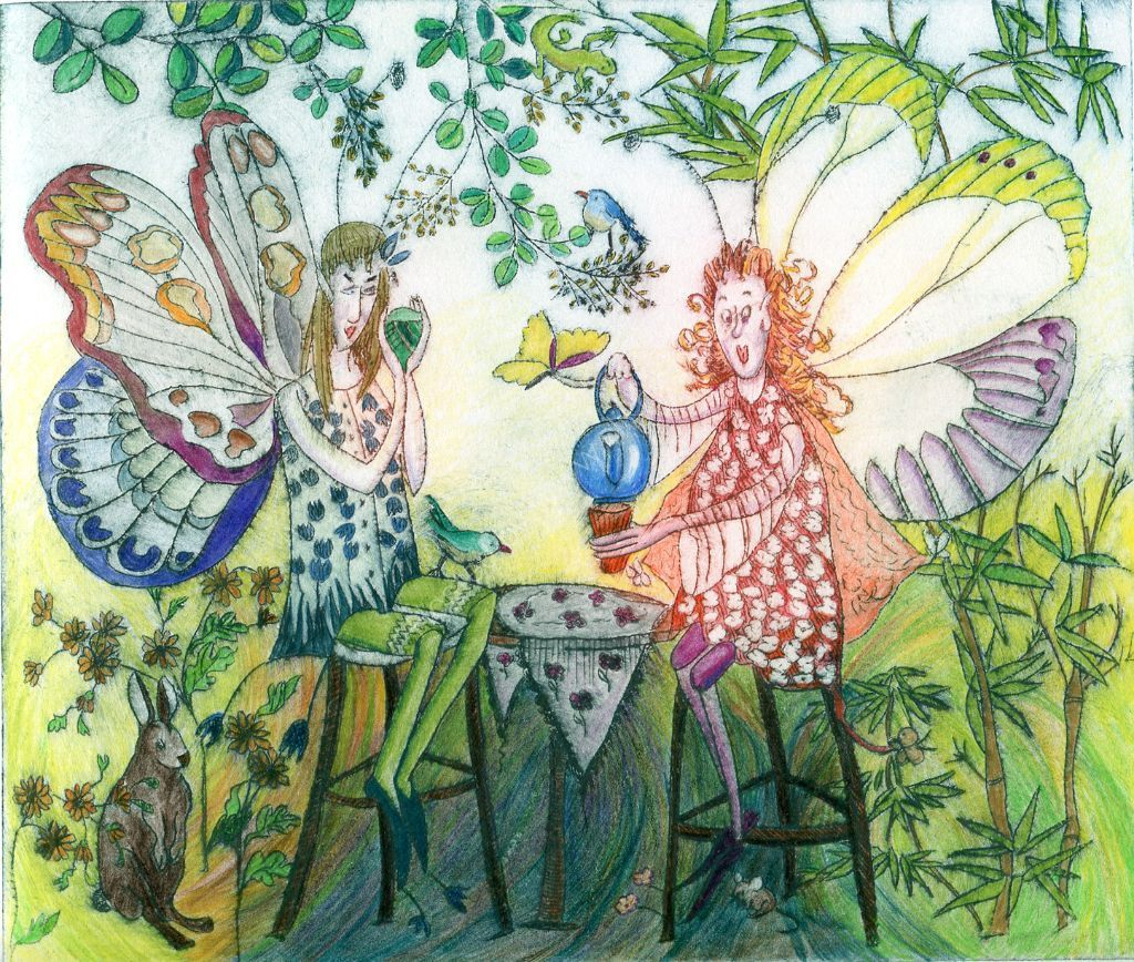 Fairy T Party. Drypoint print, hand-coloured.