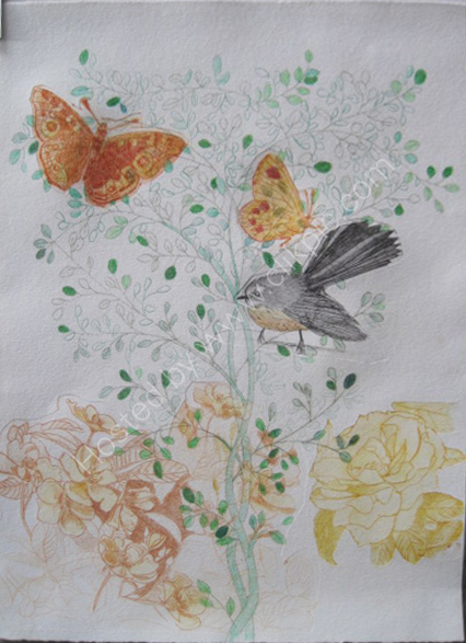 Fantail in the Garden. Multiple drypoint print.