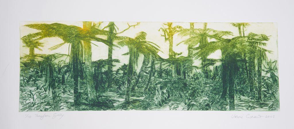 Fern Gully. Drypoint print.