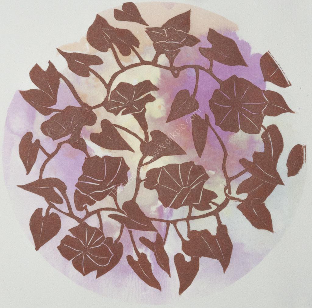 Around the Garden. Woodcut print with polysol dye.