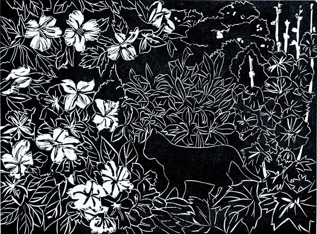 Garden by Moonlight. Woodcut.