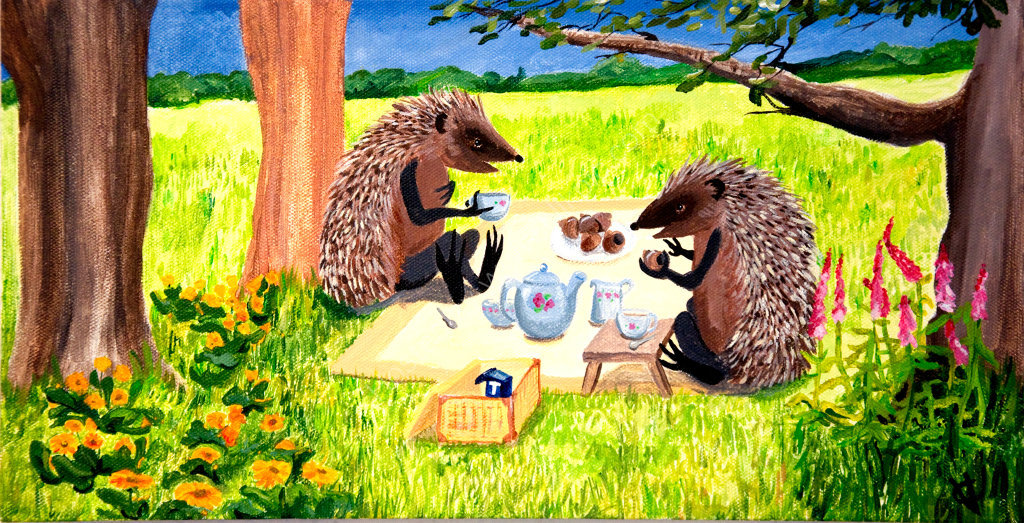 Hedgehogs Tea Party. Painting on canvas.