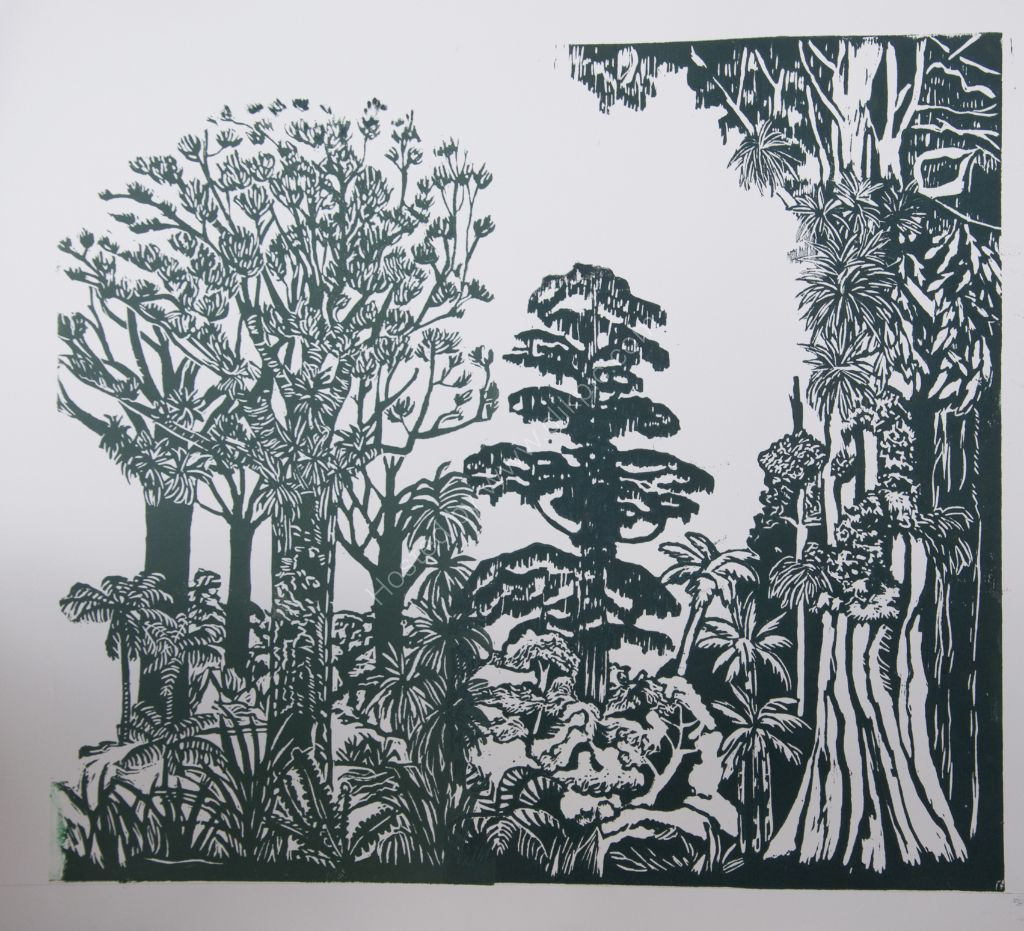 Mixed Forest. Relief print.