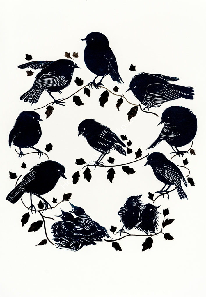NZ Black Robins Round.Lino cut prints.
