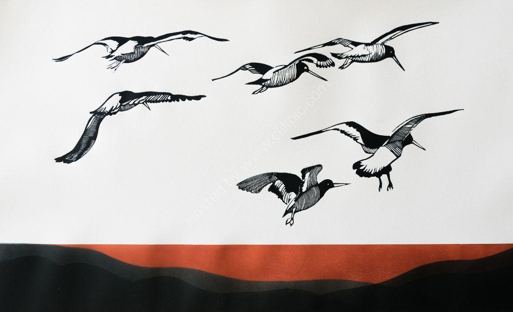 Oystercatchers Sunset. Lino cut prints.
