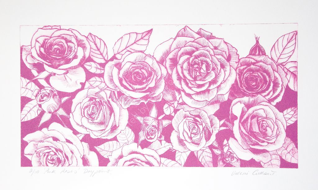 Pink roses. Drypoint print.