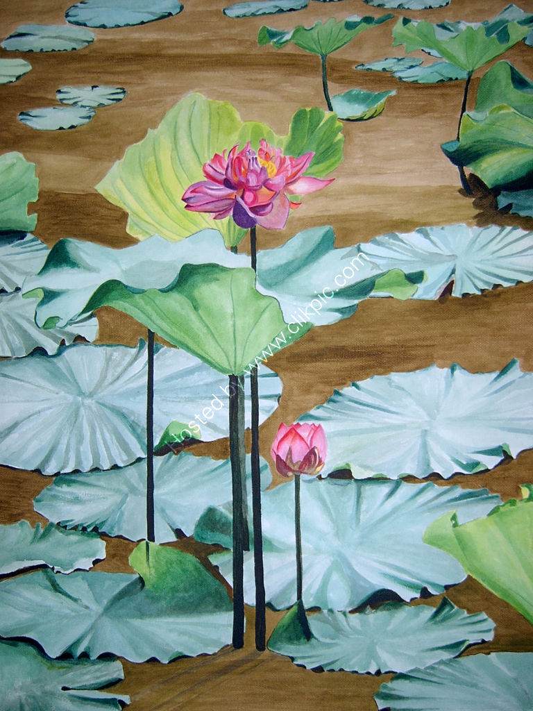 Pink waterlillies. Painting on canvas.