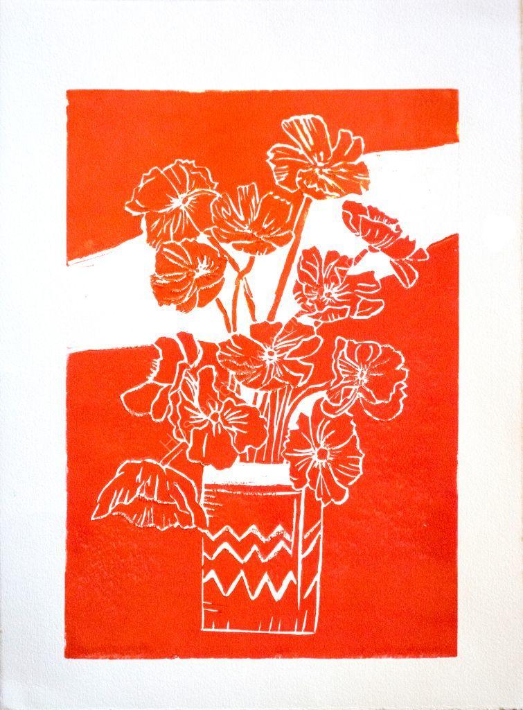 Poppies. Linocut