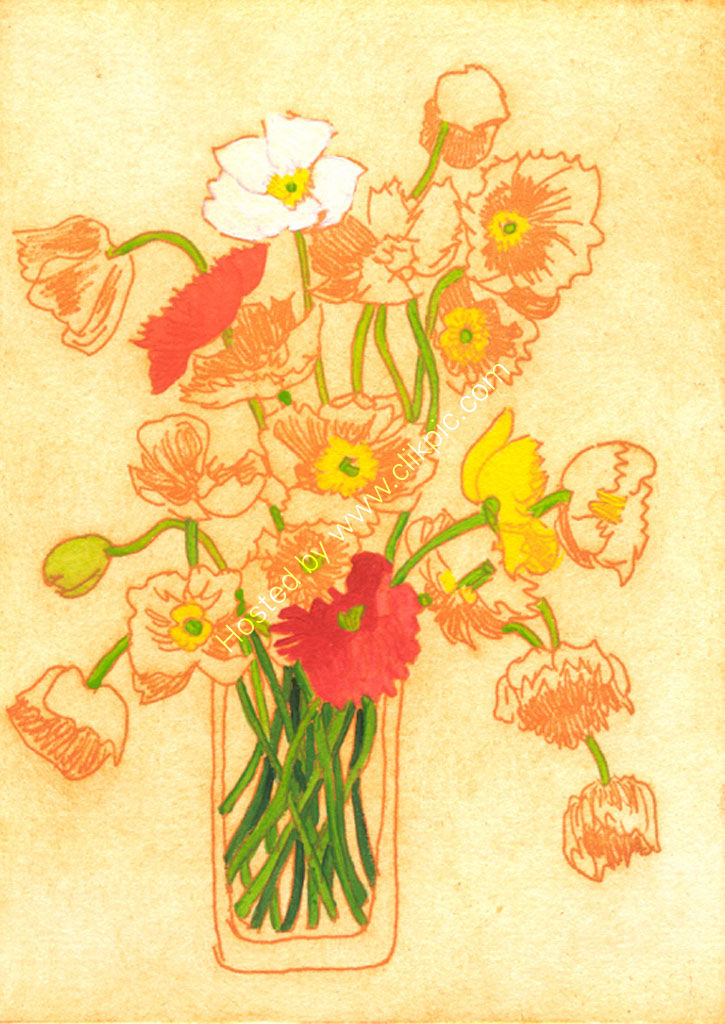 Poppies. Etching.