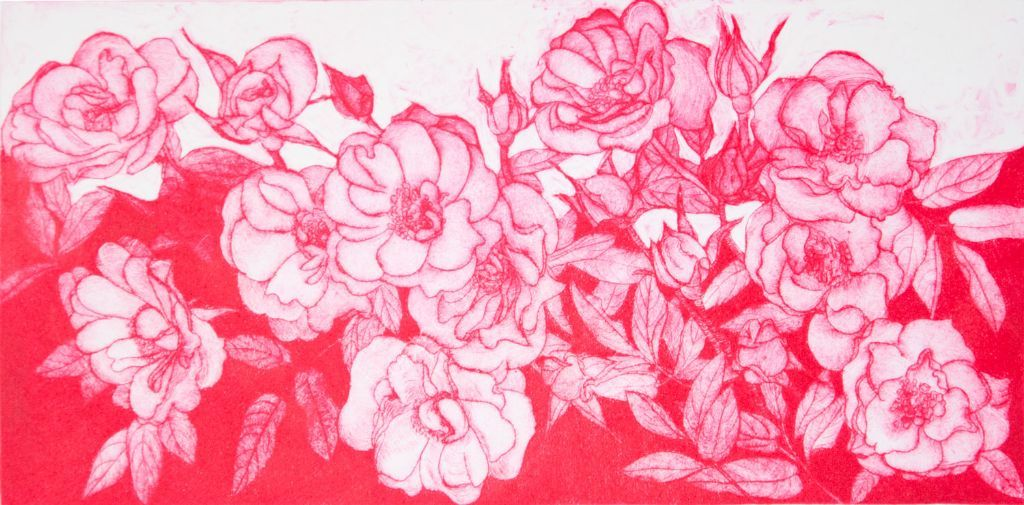 Red Roses. Drypoint print.