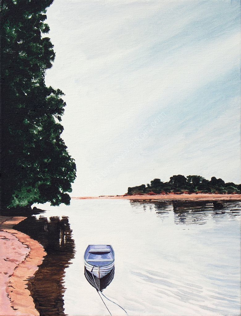 Rowboat. Painting on canvas.