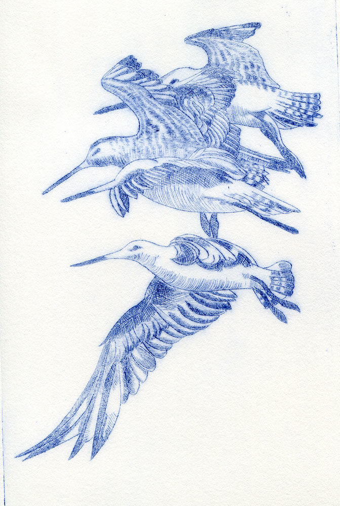 Stacked in Flight. Drypoint print.