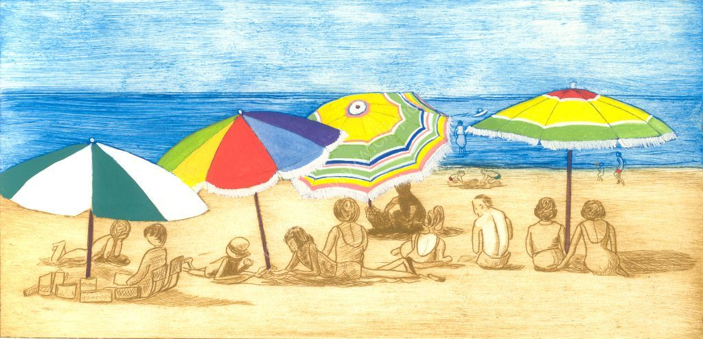 Sunday at the beach. Drypoint print.