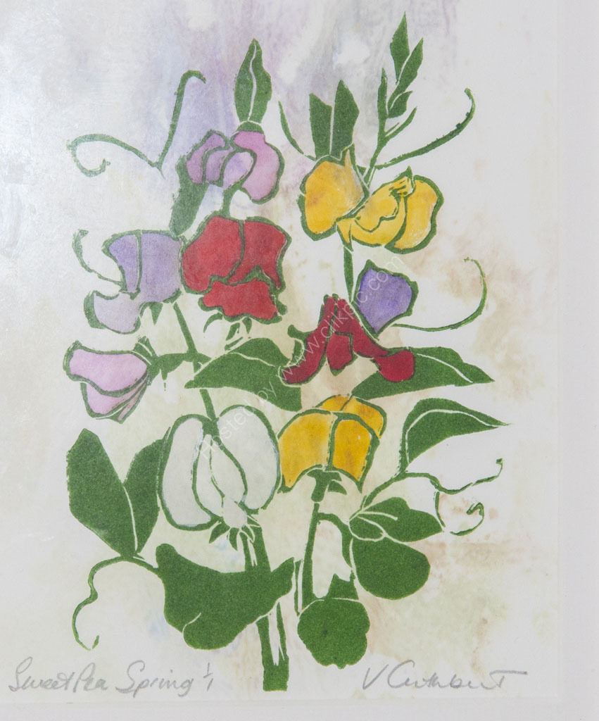 Sweetpea. Linocut print, hand coloured.