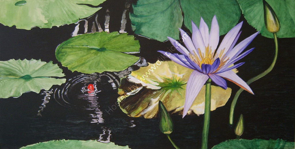 Purple waterlily. Painting on canvas.