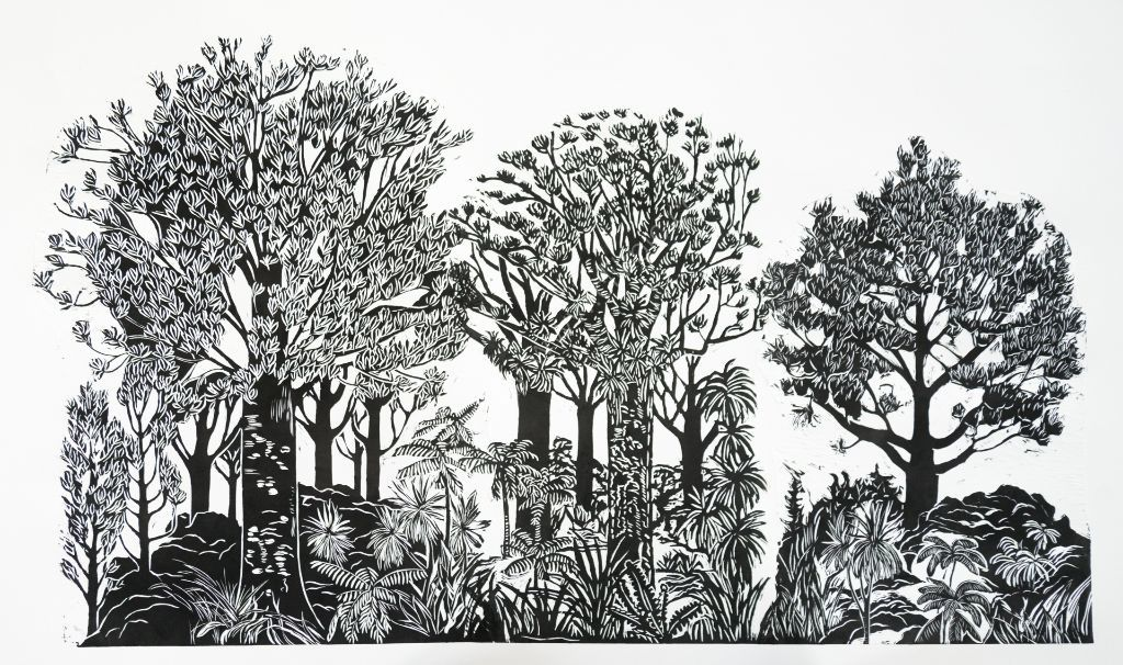 All the Kauri Trees. Lino cut.