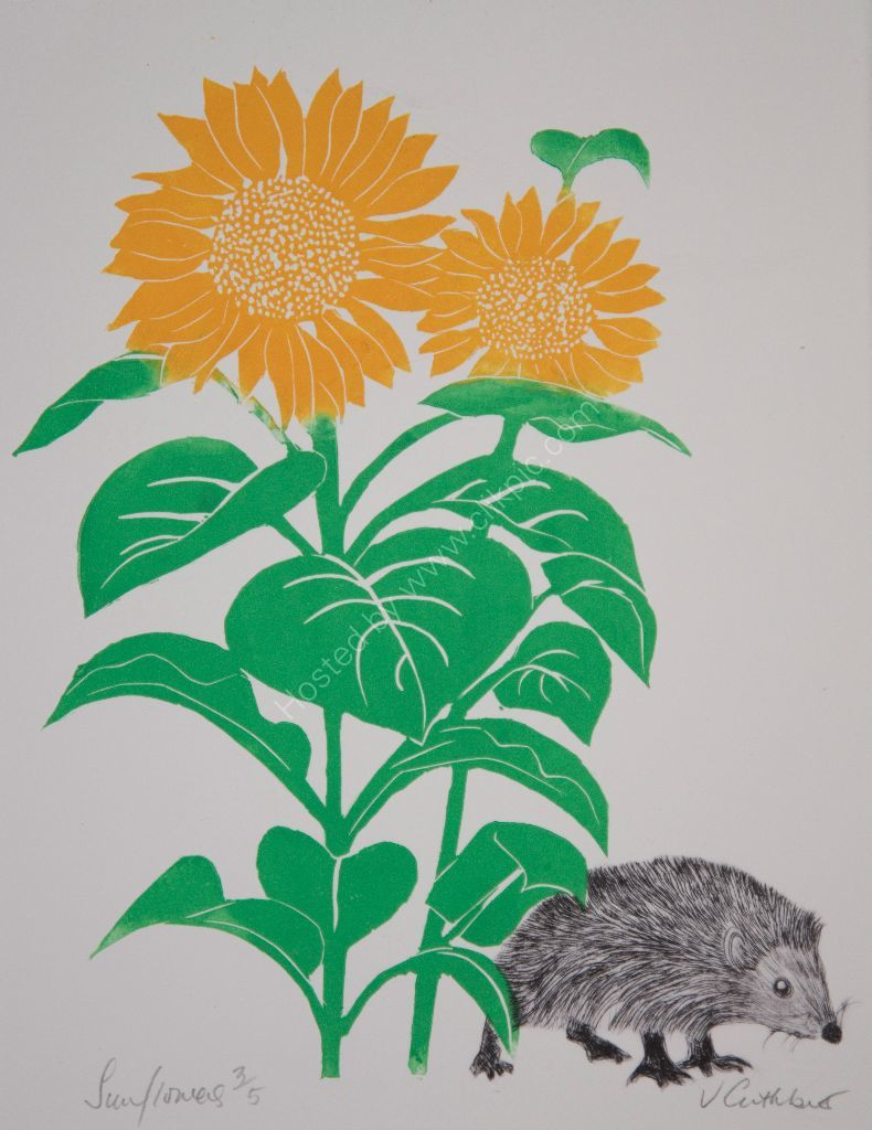 Sunflower and Hedgehog. Mixed media.