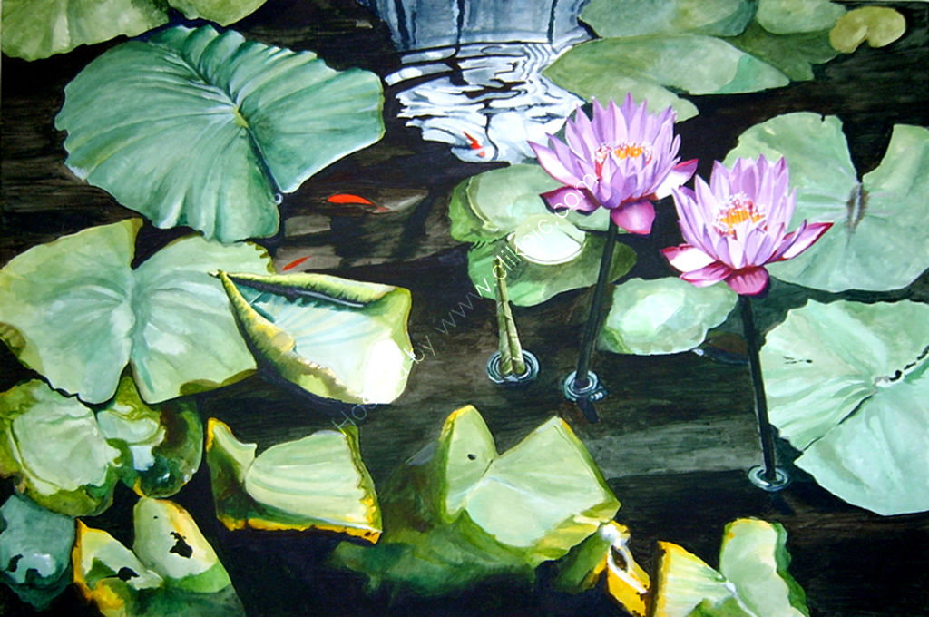 Waterlily pond. Painting on canvas.