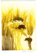 Wheatfield and Mice. Etching.