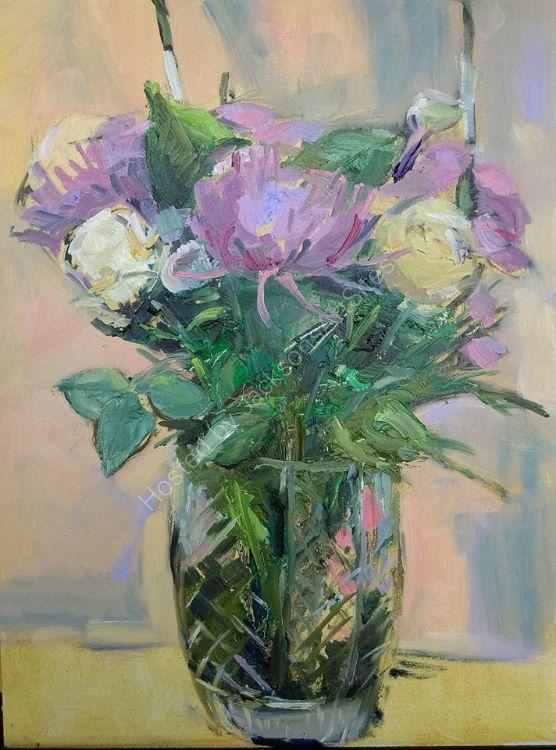 Bouquet with Cut Galss Vase.