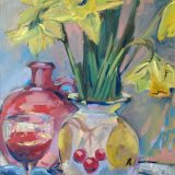 Daffodils and Red Flask