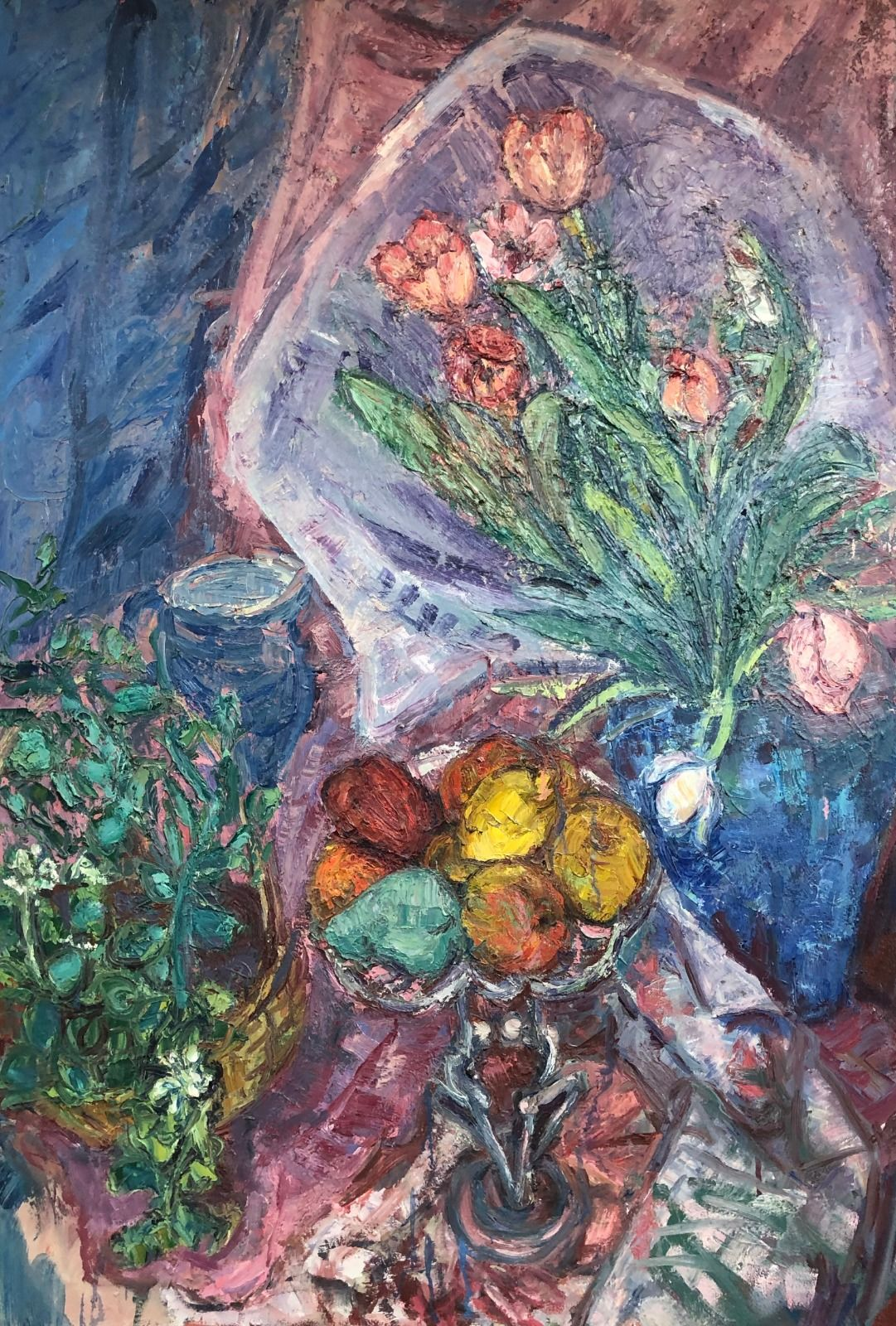 Friut & Tulips in a Sellophane Wrapper. 50in x 34in