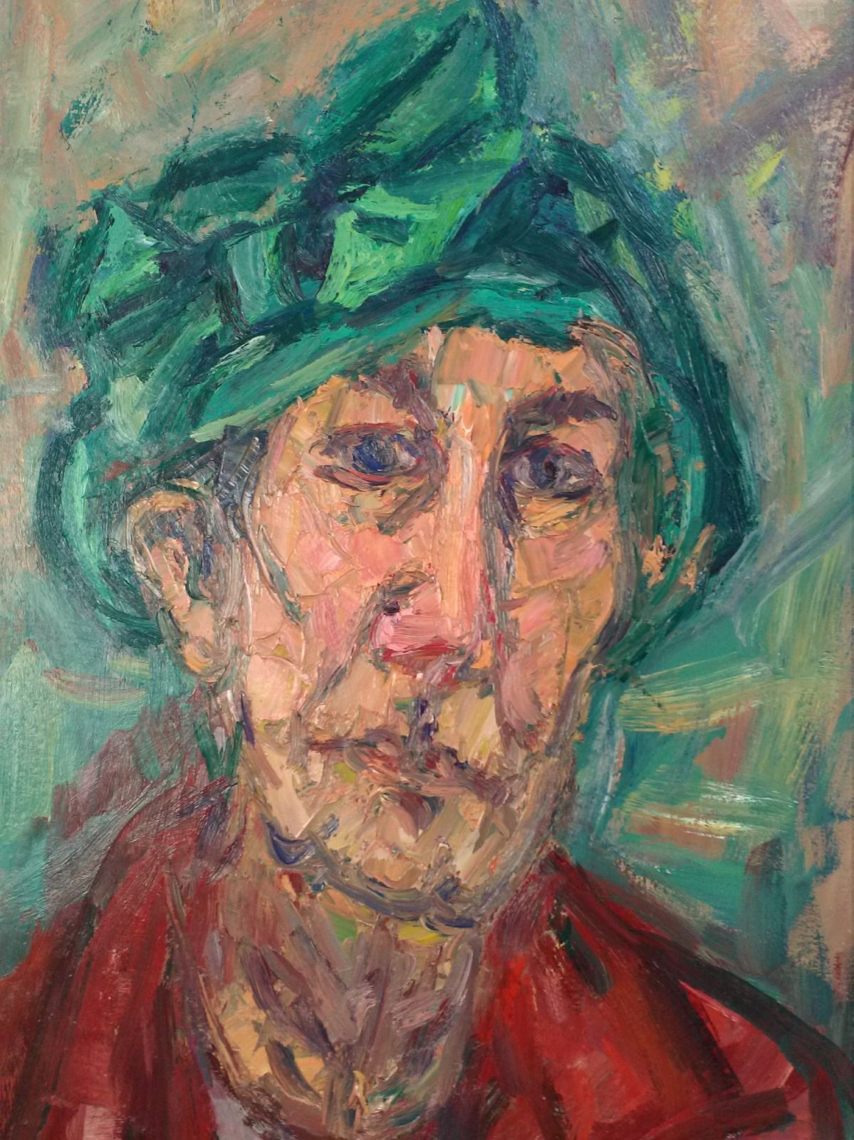 "Woman in a Green Hat no 2. 29"" x 26""."