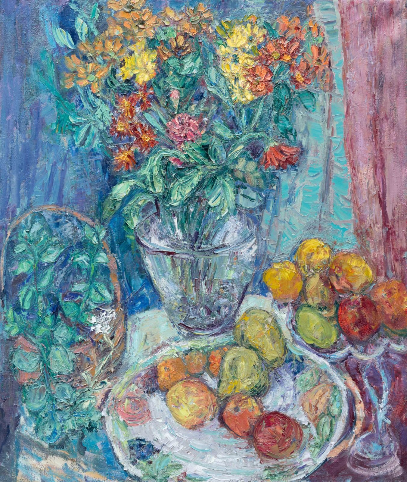 """Still Life with Fruit 40"""" x 34""""."""