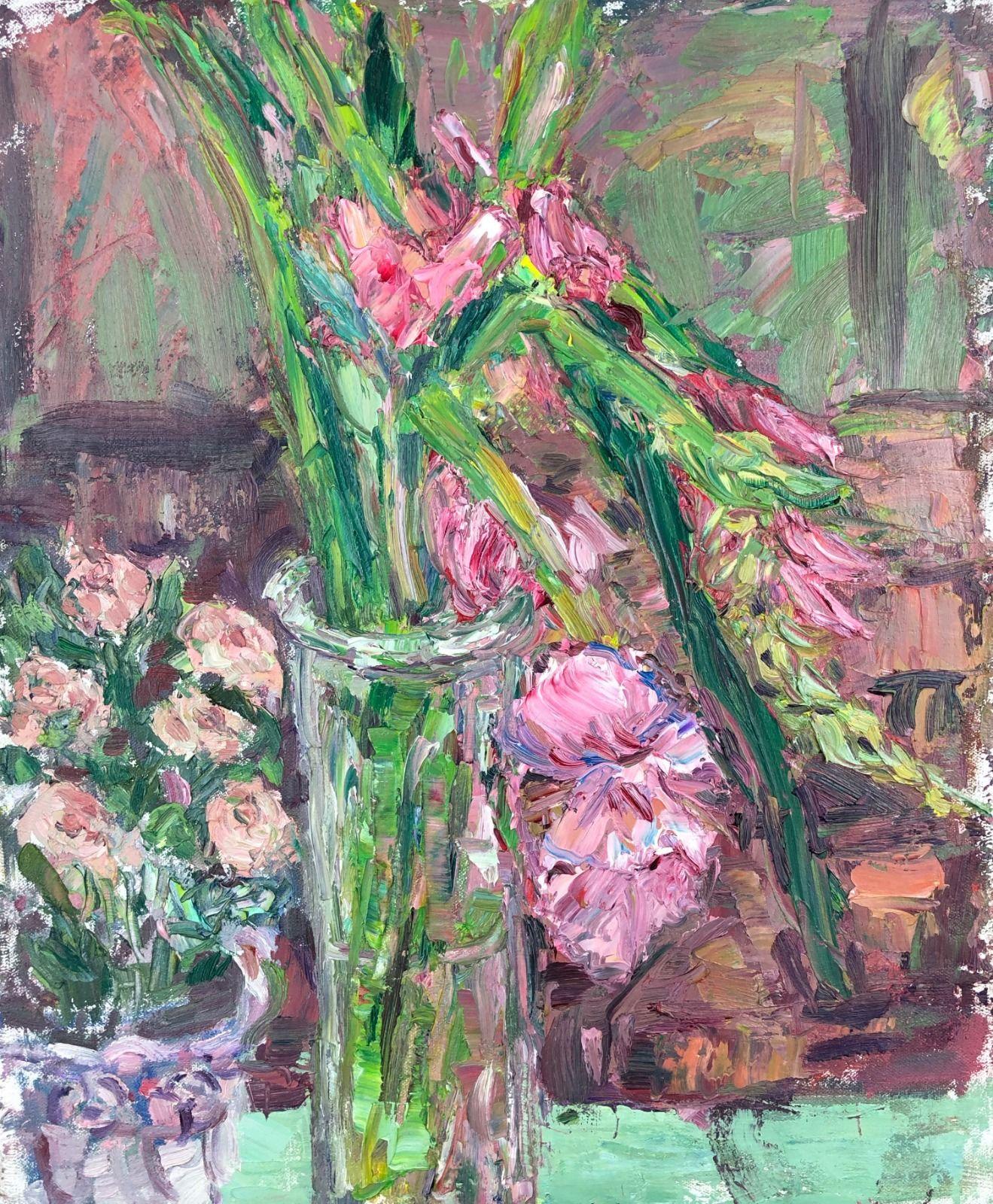 Pink Gladioli in a Jar. 17in x 14in
