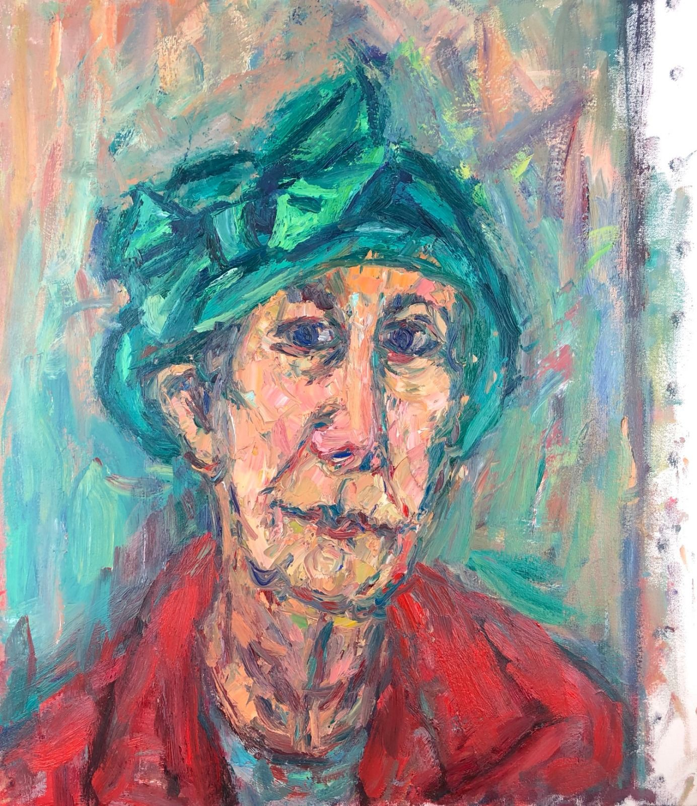 Portrait of a Woman in a Green Hat. 29in x 26in
