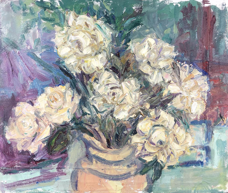 White Roses in a Vase. 15in x 13in
