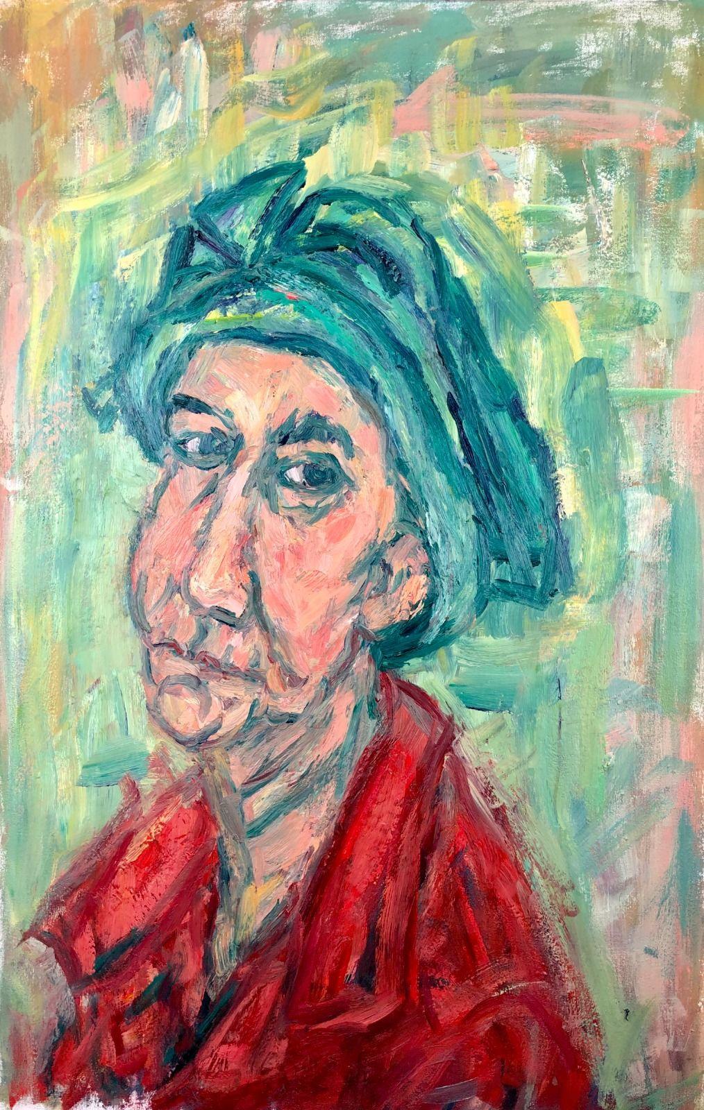 Woman in a Green Hat. 36in x 24in