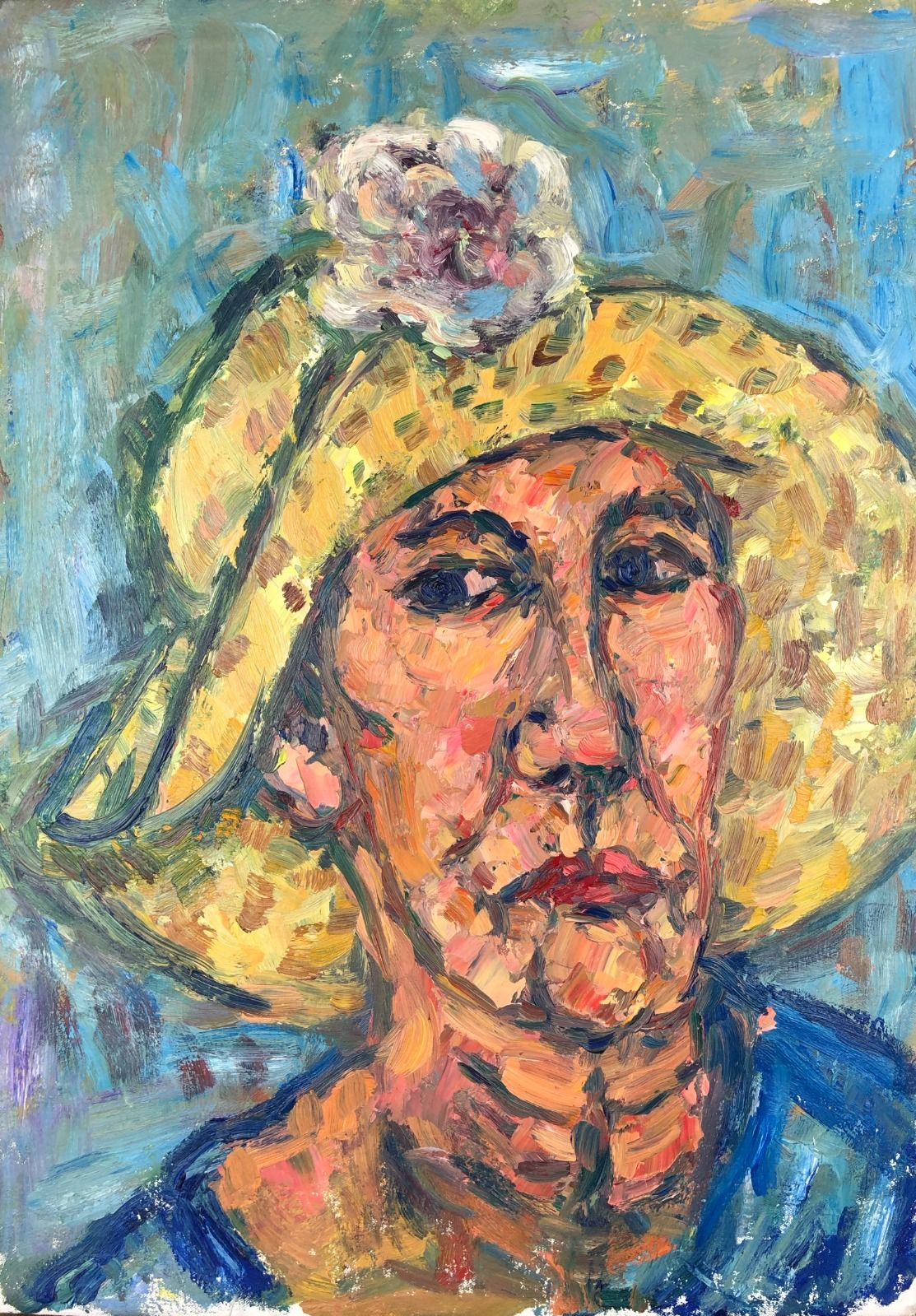 Woman in a Sunhat. 24in x 17in
