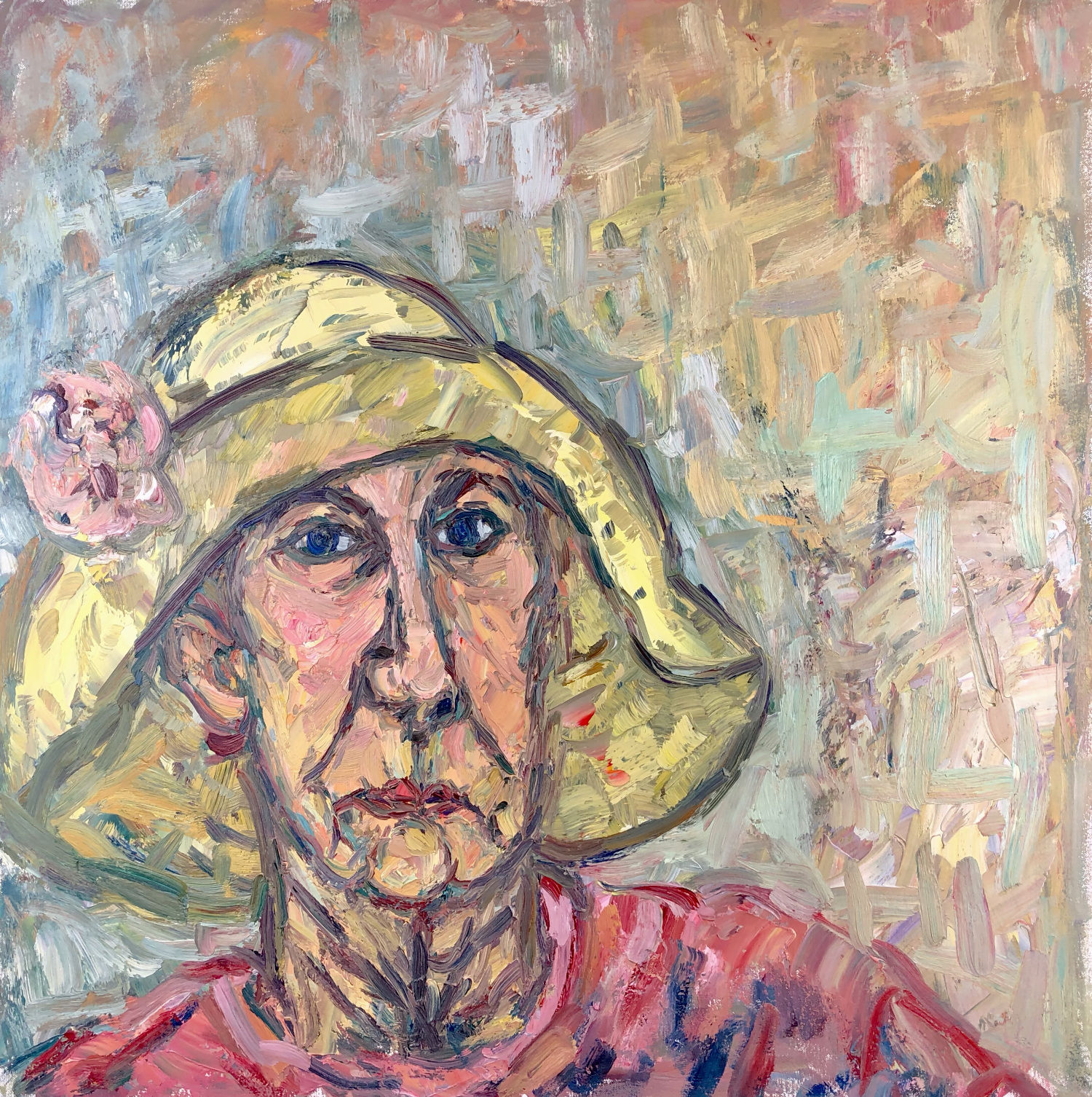 Woman in a Yellow Hat. 30in x 29in