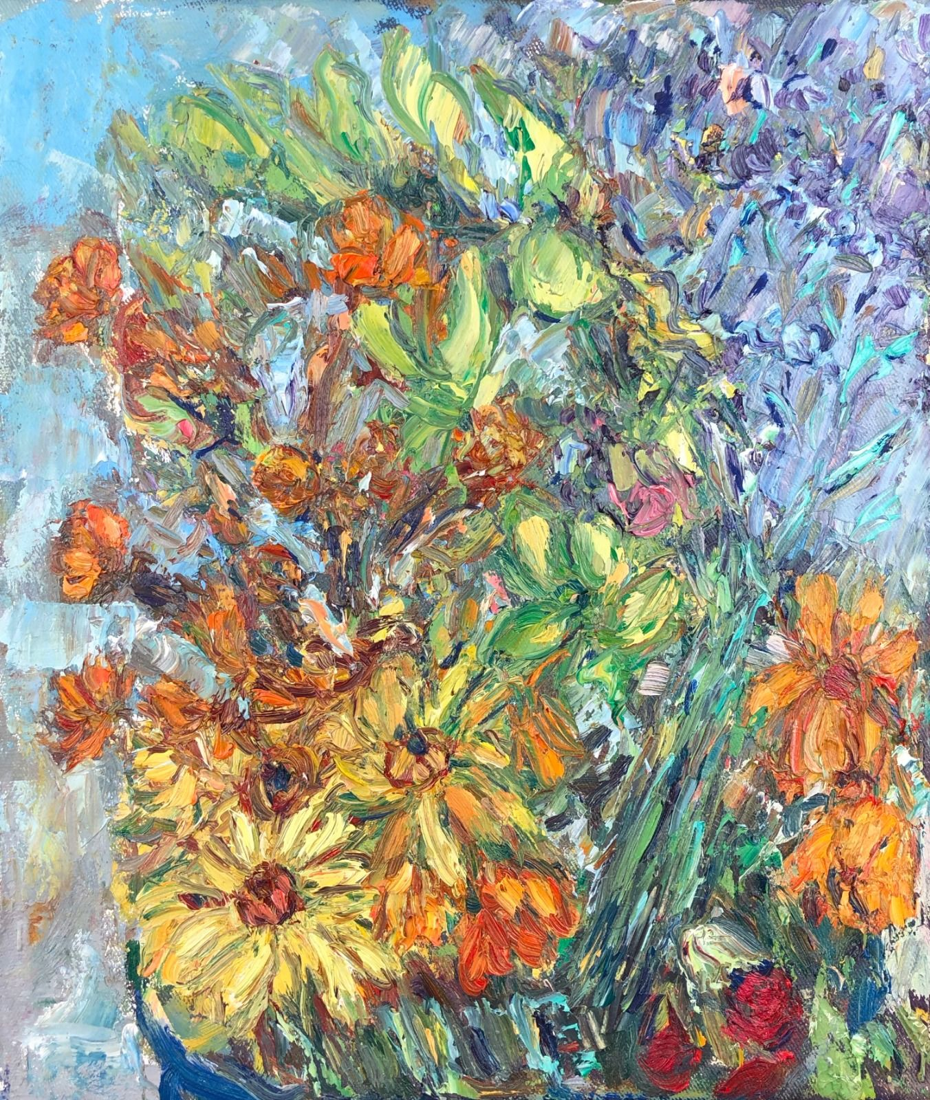 Yellow & Orange Flowers. 15in x 13in