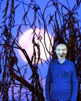 A Neanderthal man and full moon