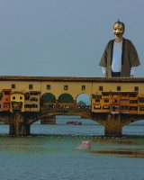 A childish-like man on vacation in Florence