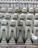 Rows of stone faces